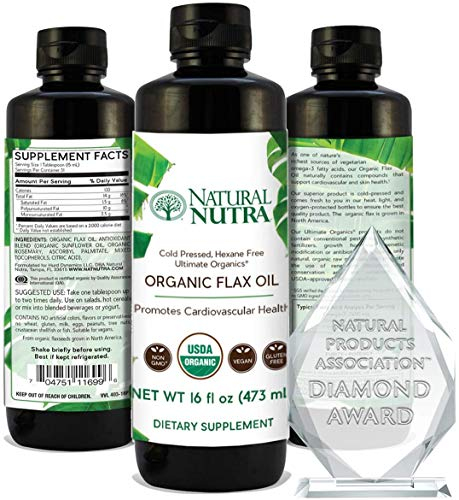 Natural Nutra Organic Flaxseed Oil Liquid Supplement, Cold Pressed. Vegan and Plant Based Source of Omega 3 6 9, Flax Oil for Cooking, Seasoning and Salads, 16oz