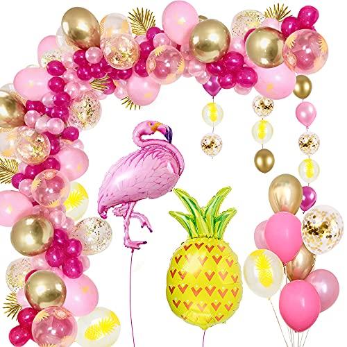 Arco de Globos Flamingo,GEEKEO Rosa Decoración de Fiesta Temática Hawaiana Decoración Tropical Hawaiana con Estampado de Hojas Transparen 102 Piezas Kit de Guirnalda de Globos