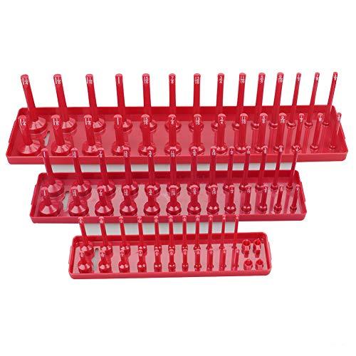 Bclaer72 3 Stück / Set Steckschlüsselhalter Ständer Rack Rack Set metrisch SAE 1/4 Zoll, 3/8 Zoll, 1/2 Zoll Werkstatt-Aufbewahrung Werkzeug Stecknuss Drive Tray, Schwarz , Free Size