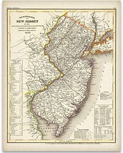 1846 New Jersey Map - 11x14 Unframed Art Print - Great Vintage Home Decor and Gift Under $15