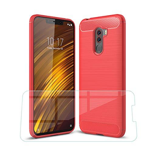 """SCDMY Für Xiaomi Pocophone F1 Panzerglas Displayfolie + Hülle Carbon Fiber, Fallschutz, Anti-Kratzer Schutzhülle Weiche Silikon TPU Case Handyhülle Hülle Für Xiaomi Pocophone F1 (6.18"""") -Red"""