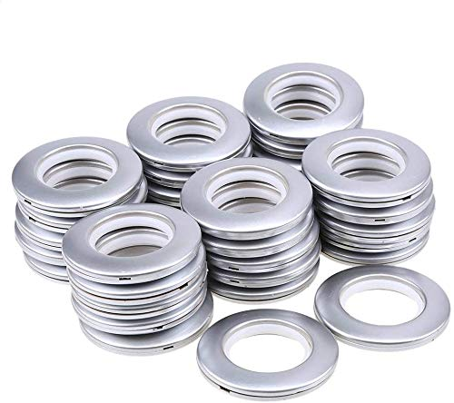 "WCIC 32 Pack Curtain Grommets 1-9/16""(40mm) Inner Diameter Curtain Rings Nanoscale Low Noise Roman Ring Matt Silver"