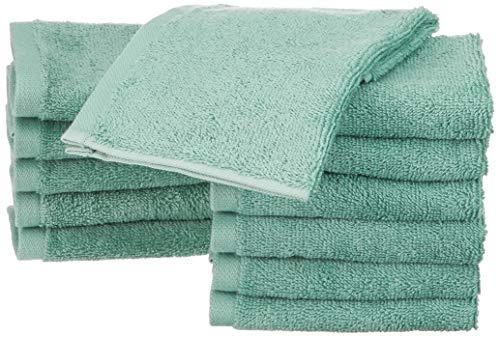 Amazon Basics - Toallas de algodón, 12 unidades, Verde espuma de mar