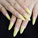 URTJSDG Uñas Falsas Beige Nude Glitter Stiletto Presione En Uñas Postizas Extra Largo Natural Sharp Poited Gold Cross Line Gel Uñas De Dedos Falsos