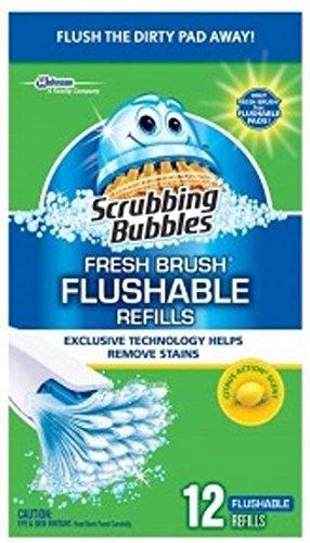 4 Pack-scrubbing Bubbles Fresh Brush Flushable Refills, 12 Count Each