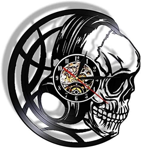 XYVXJ Disco de Vinilo Reloj de Pared Reloj de Calavera Negro Reloj Negro Art Deco Reloj de Pared de Cuarzo Regalo de los Hombres