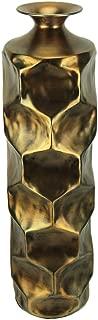Vintage Gold Hammered Aluminum Tall Indoor/Outdoor Vase