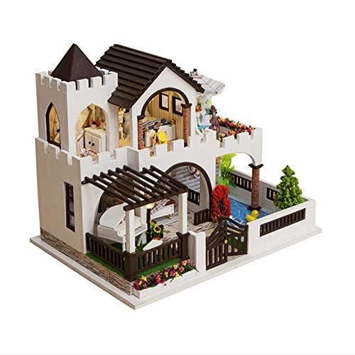 Casa Modelo De Rompecabezas De Madera 3D Diy,Casa De Muñecas En Miniatura,Kits De Manualidades, Regalo Para Niñas,Modelo De Juguete De Rompecabezas(Castillo Acogedor)