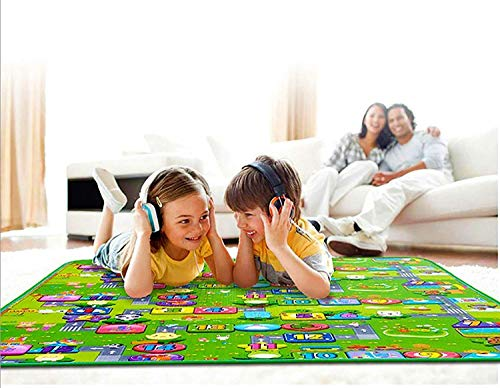 Ozoy Baby Mats Waterproof Play Mat for Kids Extra Large Size Crawl Thick Double Sided Non-Slip Reversible Portable Mat Use for Outdoor/Picnic/Beach/Travel 6.5 x 6 Feet (200 x 180 cm) (Multi.)