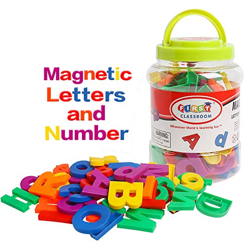 USATDD 80PCS Large Magnetic Alphabet Letters and Numbers Fridge Magnets Colorful ABC 123 Refrigerator Educational Toy Preschool Learning Spelling Counting Uppercase Lowercase Math for Kids Toddlers