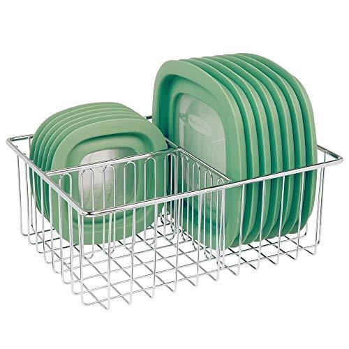 mDesign Organizador de tapaderas – Práctica cesta de almacenaje con 3 compartimentos para ordenar tapas – Moderna cesta metálica para organizar la despensa – plateado