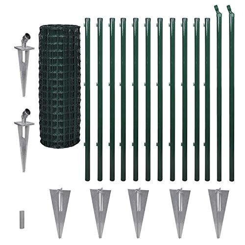 Top-Multi Maschendrahtzaun Set Wildzaun Gartenzaun PVC-beschichtet GRÜN 1,0m x 10m