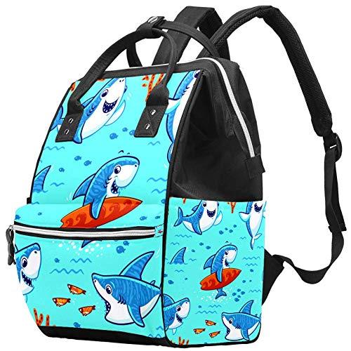 Mignon Cartoon Sharks Sac à dos de voyage Casual Daypack Maternité Sac à langer Organisateur de soins d'allaitement Bouteille