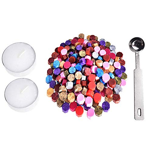 jieGorge 230 Pieces Octagon Wax Seal Beads Stamp Sealing Wax Beads Melting Spoon Kit MR, Office & Stationery, for Christmas Day (MR)