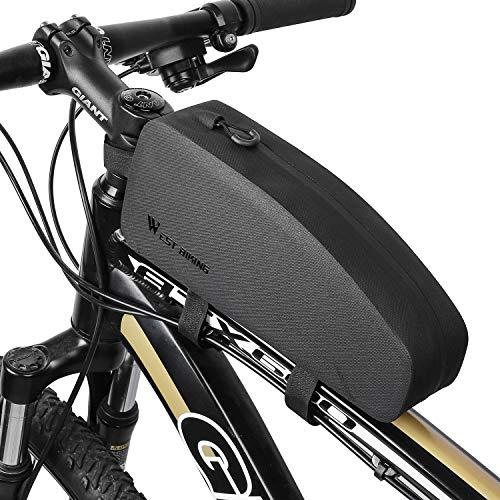 Westgirl, borsa portaoggetti per tubo superiore della bicicletta, triangolare, impermeabile, grande capacità, leggera, accessori per bici da strada, mountain bike, (nero), Uomo, Medium