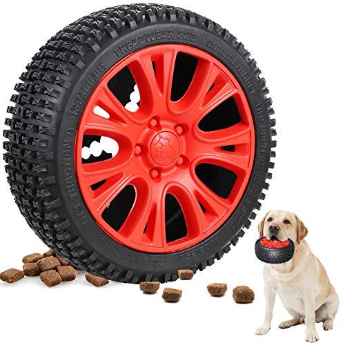 G.C Hundespielzeug unzerstörbar Große Hunde, 18cm Kauspielzeug Hund für Aggressive Kauer, interaktives Naturkautschuk Zahnpflege Reifen Hunde Spielzeug