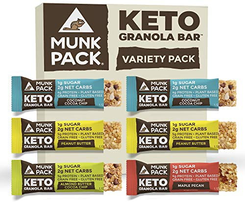 Munk Pack Keto Granola Bar, 1g Sugar, 2g Net Carbs, Keto Snacks, Chewy & Grain Free, Plant Based, Paleo-Friendly, Gluten Free, Soy Free, No Sugar Added (Variety 6 Pack)