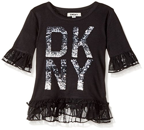 DKNY Little Girls' Long Sleeve T-Shirt (More Styles Available), 1116DG Black, 4