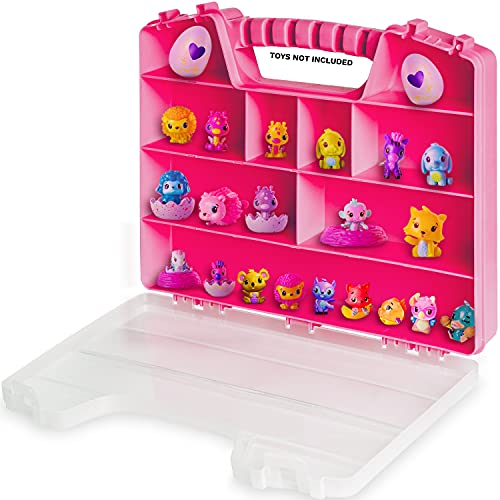 Durable Figures CASE Organizer Box   Fits Up to 50 Mini Colleggtibles Eggs Toys Figurines, Miniature Characters Or Tiny Figure  Large Compartments   Pink Carrying Case Box with Handle by Ash Brand