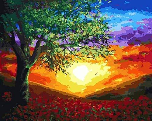 Pintura por números para adultos niños pintura acrílica pintada a mano cuadro de paisaje dibujo sobre lienzo A5 40x50cm
