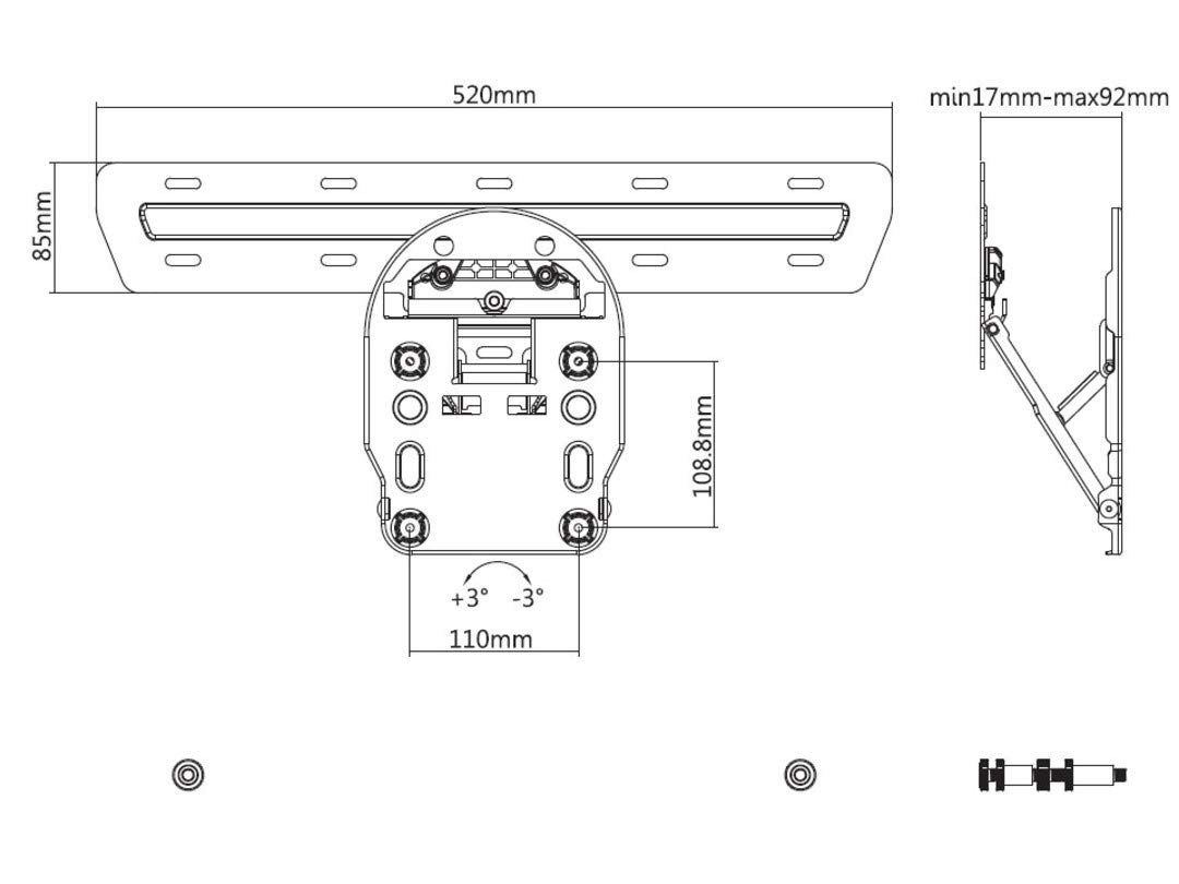 Soporte de Pared King M Samsung QLED Series 7/8/9 de 49 a 65 ...