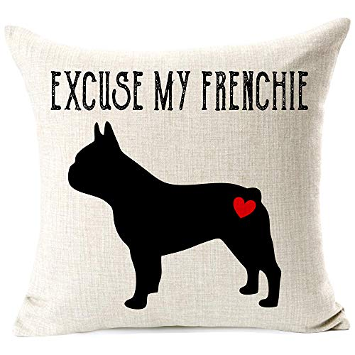 963RW Frenchie Decorative Throw Pillow Cover, Excuse My Frenchie Pillow Case, Dog Lover Gift, Cotton Canvas Square Pillowcase Cushion Case for Sofa Couch Bed Chair 18 x 18 Inch