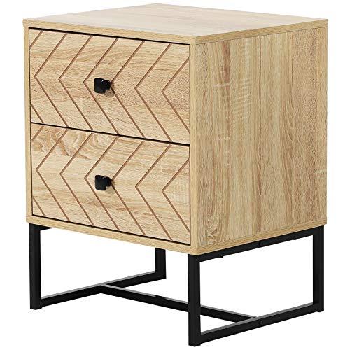 HOMCOM Sideboard Beistelltisch Kommode 2 Schubladen Spanplatte Natur 48 x 39,5 x 60 cm