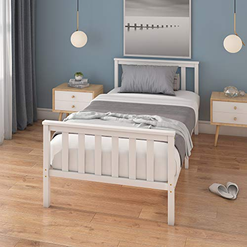 Panana Single Bed Frame 3FT Bedstead Kids Child Teenagers Bedroom Furniture Small Room (White)