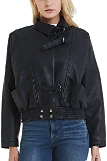 DISSA PYP41 Women Faux Leather Cropped Jacket Loose Coat
