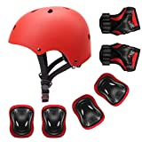 YUFU Kids Helmet Sports Protective Gear Set for 3-8 Years Toddler Boys Girls Bike Skateboard Adjustable Helmet Knee Elbow Wrist Pads for Cycling Skating Roller Scooter Bicycle, Pack of 7 Red S