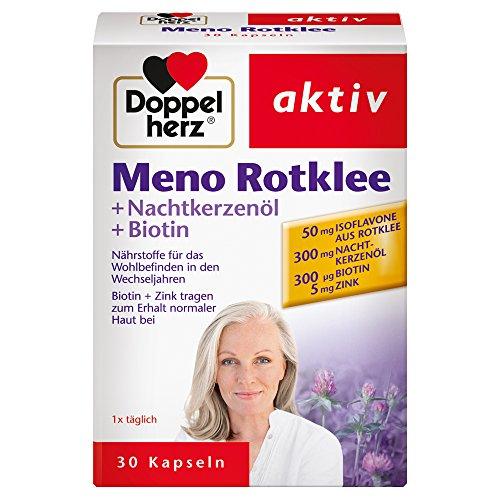 Doppelherz Meno Rotklee – Nährstoffe für das Wohlbefinden in den Wechseljahren – Mit Biotin und Zink – 1 x 30 Kapseln