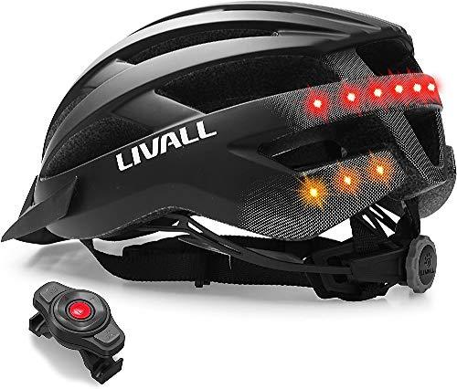 Livall Unisex– Erwachsene MT1 Musik, Rücklicht, Blinker, Navigation, Anruffunktion und SOS-System Fahrradhelm, mattschwarz, 54-58cm