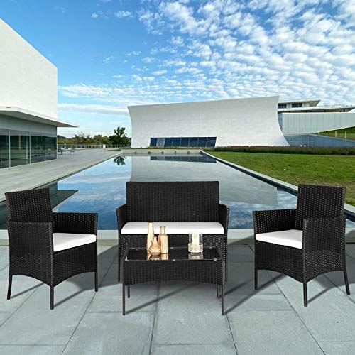 Unknown1 4 Pieces Patio Furniture Sets Rattan Chair with Coffee Table Wicker Set Black Modern Contemporary Cushion Included