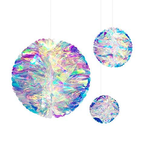 NICROLANDEE Iridescent Honeycomb Hanging Decorations Foil Ceiling Hanging Ornaments for Frozen Theme Party Winter Wonderland Fairy Princess Rainbow Show Bridal Shower Wedding Birthday Party Decor