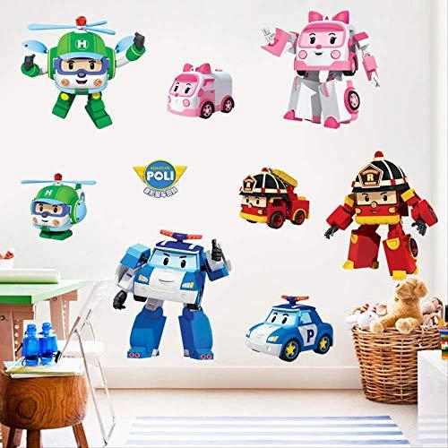 Deformed Police Car Wall Sticker Robot Cartoon Decoration Children's Bedroom Waterproof Sticker