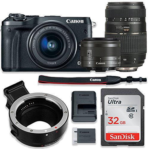 New Canon EOS M6 Mirrorless Digital Camera (Black) Bundle w/Canon EF-M 15-45mm is STM & Tamron 70-30...