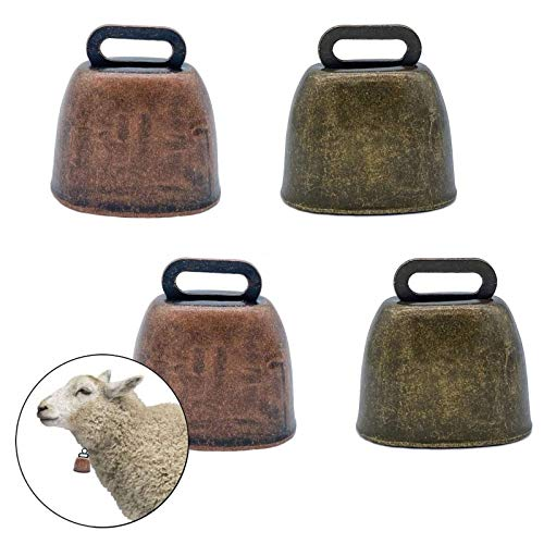 unbrand FAFAHOUSE 4 Pack Small Brass Bell,Cow Horse Sheep Grazing Copper Bells,Cattle Farm Animal Loud Bronze Bell,Pet Anti-Theft Accessories Bell
