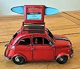 Lovely Large vintage retrò classico design italiano, scatola di metallo per auto con tetto sollevabile per un' immagine–20cm Long–Great gift ornamento per un ripiano o una scrivania. Red