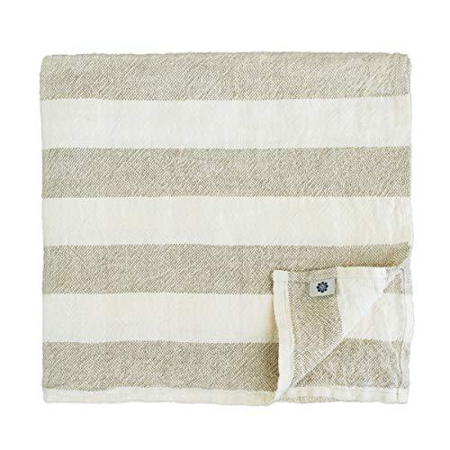 Linen & Cotton Muy Suave Toallas de Baño Marcus de 100% Puro Lino Lavado, 100 x 140cm, Blanco/Natural