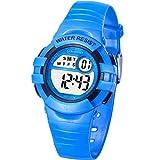Reloj Digital Deportivo para Niños, Reloj de Pulsera Niña Multifunción con Pantalla LED Impermeable para Niños, Niñas Reloj Infantil Aprendizaje para Niños 4-15 Años (Azul)