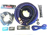 Oversized 1/0 Ga OFC AWG Amp Kit Triple Shielded RCA Blue Black Complete Sky High