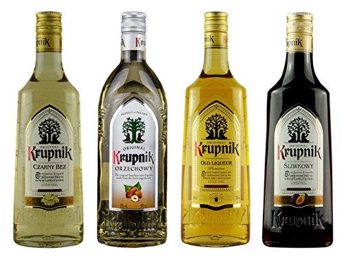 Geschenkset Krupnik Sweet | Krupnik Holunder, Haselnuss, Old Liqueur, Krupnik Pflaume | Polnische Wodkas/Liköre | 3x 0,5 Liter, 32%; 1x 0,5 Liter, 38%