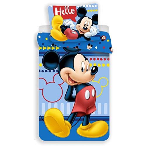 Mickey Disney Blue – Juego de cama infantil – Funda nórdica de algodón