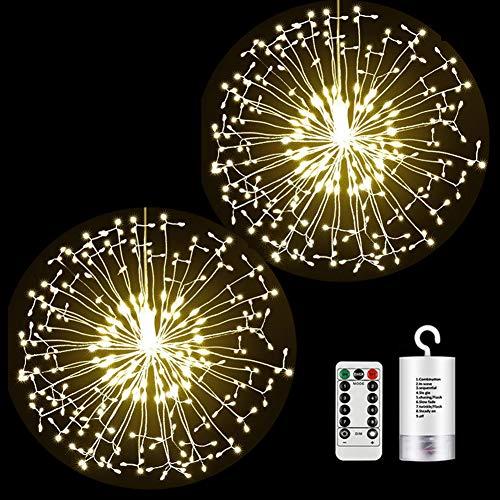 Fuegos artificiales Luces Cadena 198 LED Navidad Guirnaldas Luminosas Fuegos Alambre 8 Modos Iluminación con Control Remoto para Jardín, Entrada, Casas y Fiesta (198 LED Blanco Cálido, 2 Pack)