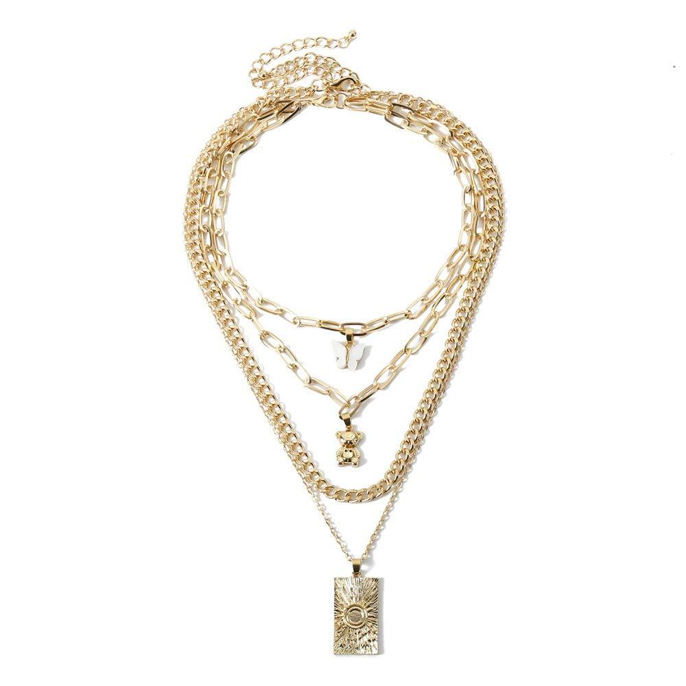 Denifery Butterfly Cuban Link Chain Necklace Butterfly Choker Pendant Necklace Set Women Hip Hop Choker Necklace Punk Jewelry for Women Girls (Gold C)