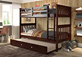 Donco Kids Mission Bunk Bed withTrundle, Twin/Twin/Twin, Dark Cappuccino