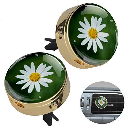 Z&Q Auto Luftreiniger Kleine weiße Blumen Auto Aromatherapie Diffuser für ätherische Öle Aromatherapie geeignet für Büro Reisen Autodekoration Golden 33.8mmX46.4mm
