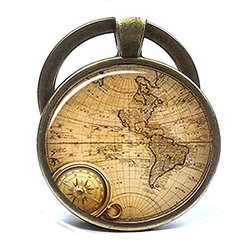 Llavero de mapa antiguo Mapas del mundo llavero de fotos de...