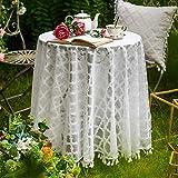 ARTABLE Mantel de tela jacquard blanco estilo rústico con flecos blancos para decoración de bodas, banquetes o jardines (blanco, 180 cm redondo)