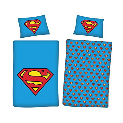 DC Superman Bettwäsche-Set für Einzelbett, 100 % weiche Baumwolle, gebürstet, wendbar, Superman, Einzelbett